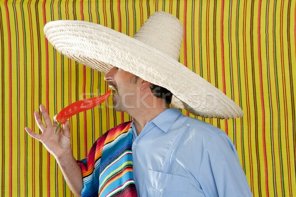 Chili hot pepper Mexican man typical poncho serape Stock photo © lunamarina