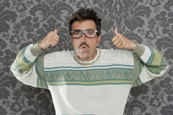 nerd pensive silly man ok gesture retro glasses Stock photo © lunamarina