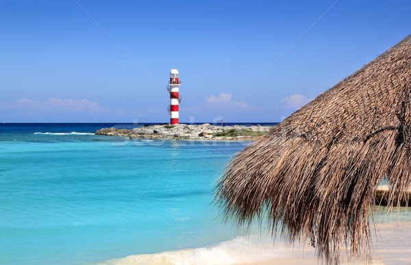Cancun lighthouse turquoise caribbean beach Stock photo © lunamarina