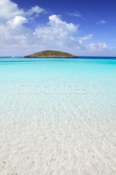 Formentera beach illetas white sand turquoise water Stock photo © lunamarina