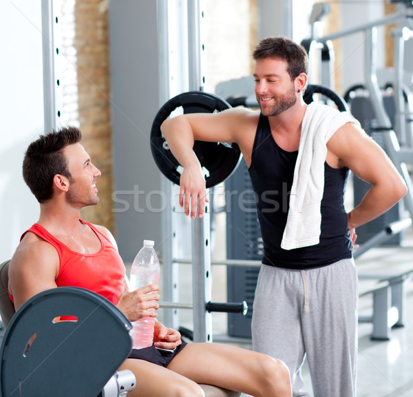 two men on a sport gym relaxed after fitness Stock photo © lunamarina