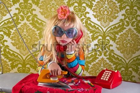 Blonde funny on kitchen eating pasta like crazy Stock photo © lunamarina
