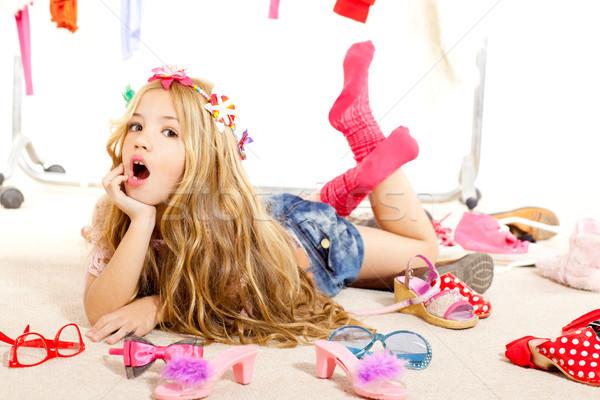 fashion victim kid girl wardrobe messy backstage Stock photo © lunamarina