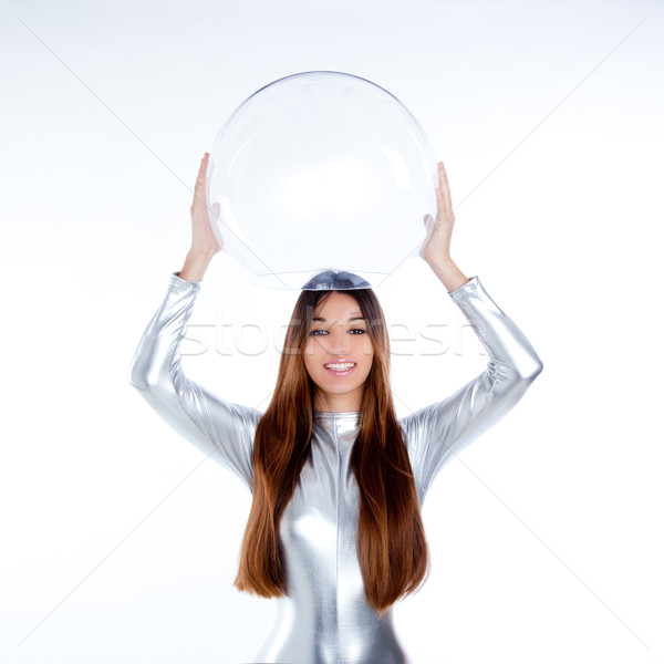 futuristic silver woman holding glass helmet Stock photo © lunamarina