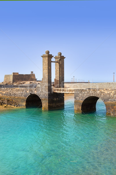 Arrecife Lanzarote castle and bridge Stock photo © lunamarina