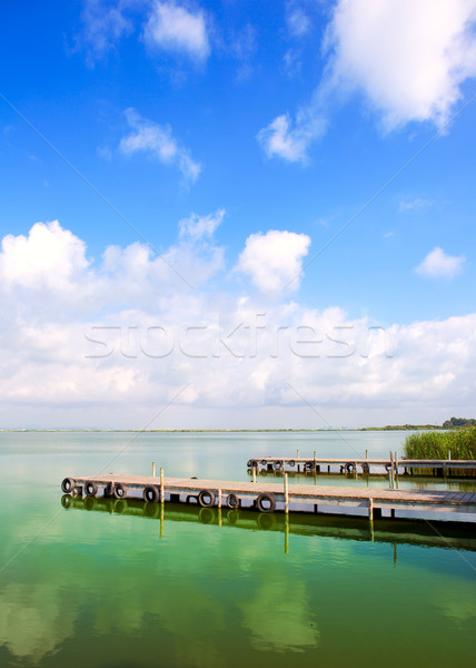 Meer Valencia blauwe hemel water hout zee Stockfoto © lunamarina