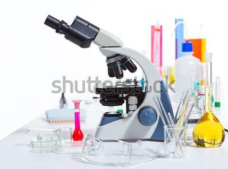 Stok fotoğraf: Kimyasal · bilimsel · laboratuvar · deney · tüpü · mikroskop