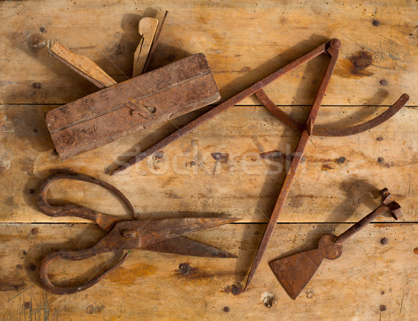 Aged tools wood planer wool scissors drawing compass Stock photo © lunamarina