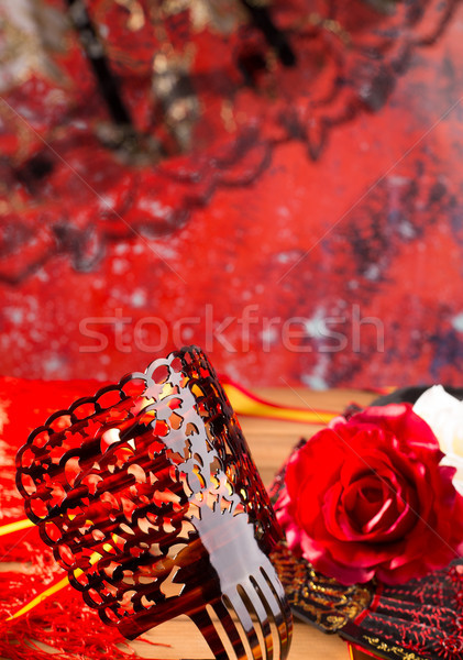 Flamenko tarak fan güller tipik İspanya Stok fotoğraf © lunamarina
