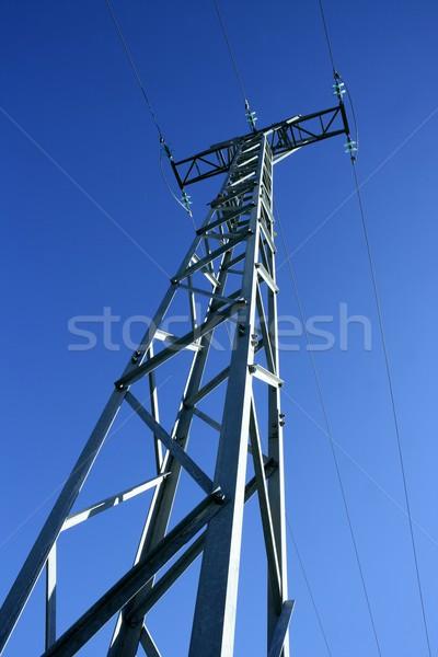 Licht Stahl Strom Turm Pol blauer Himmel Stock foto © lunamarina
