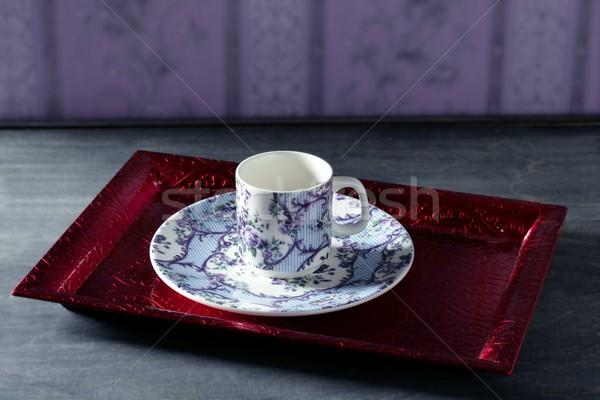 Tea cup victorian, red tray,wallpaper background Stock photo © lunamarina