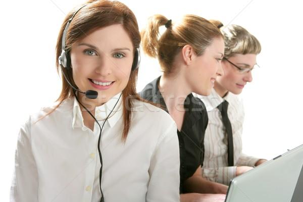 Stock fotó: üzlet · helpdesk · gyönyörű · nő · fejhallgató · mikro · számítógép