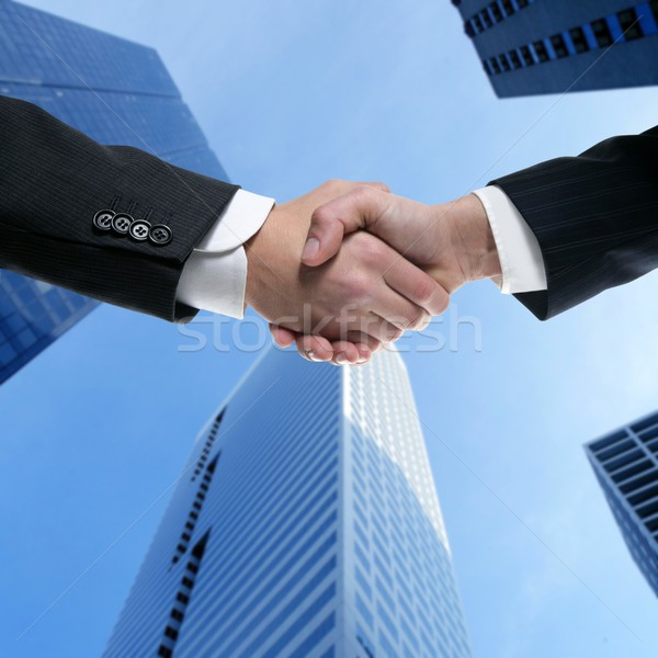 Stock photo: Businessman partners shaking hands with suit