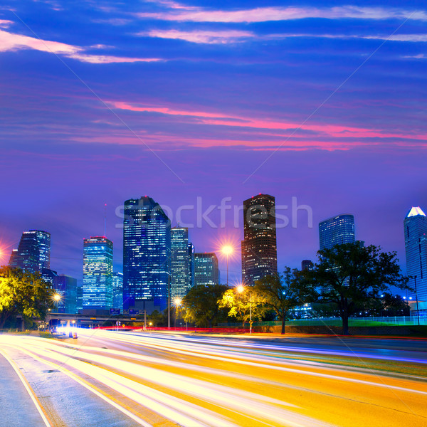 Houston Texas linha do horizonte pôr do sol semáforo moderno Foto stock © lunamarina