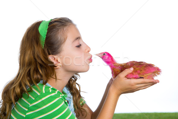breeder hens kid girl rancher farmer kissing a chicken chick Stock photo © lunamarina