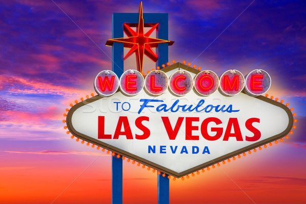 Welcome to Fabulous Las Vegas sign sunset sky Stock photo © lunamarina