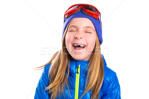 Crazy laughing funny kid girl with winter hat Stock photo © lunamarina