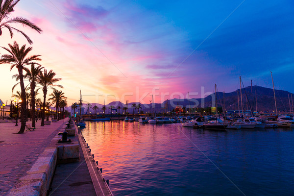 Cartagena Murcia port marina sunset in spain Stock photo © lunamarina