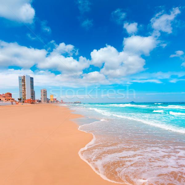 La manga plaży Hiszpania chmury krajobraz Zdjęcia stock © lunamarina