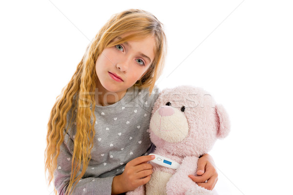 blond girl with teddy bear thermometer and flu Stock photo © lunamarina