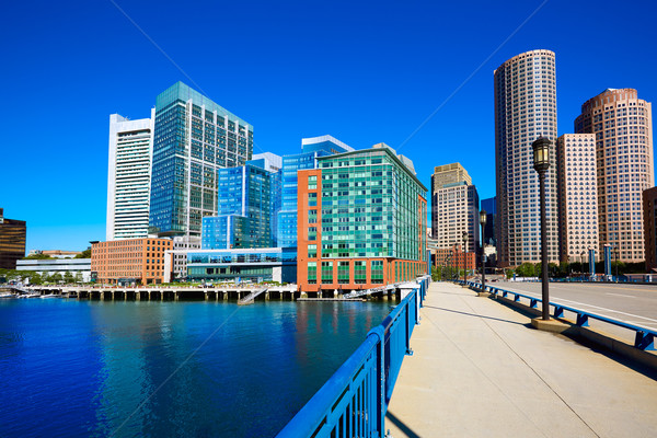 Boston skyline from Seaport boulevard bridge Stock photo © lunamarina
