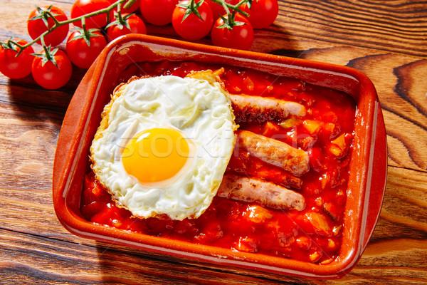 Tapas pisto con tomate ratatouille sausage egg Stock photo © lunamarina