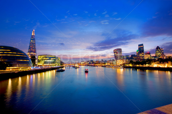 London skyline sunset City Hall and financial  Stock photo © lunamarina