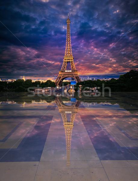 Eiffel Tower from Trocadero edited reflection Stock photo © lunamarina