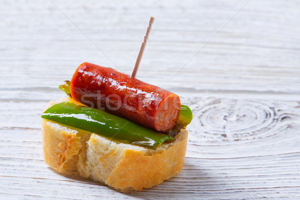 Bors tapas Spanyolország kolbász étel asztal Stock fotó © lunamarina