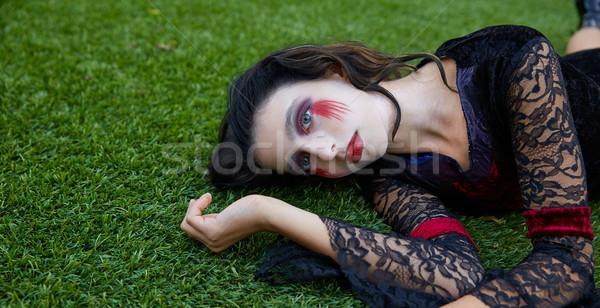 Хэллоуин Kid девушки кровавый макияж задний двор Сток-фото © lunamarina