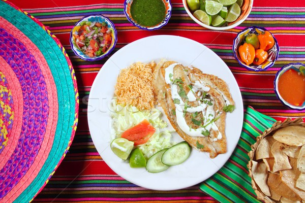 fish fillet al mojo de ajo with garlic sauce chili sauces Stock photo © lunamarina
