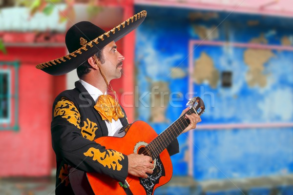Charro Mariachi playing guitar Mexico houses Stock photo © lunamarina