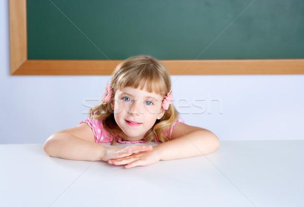 Stockfoto: Kinderen · weinig · blond · meisje · student · klas