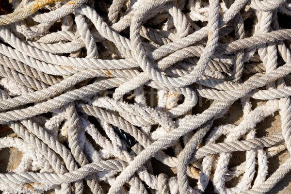 messy braided ropes of fishing tackle Stock photo © lunamarina