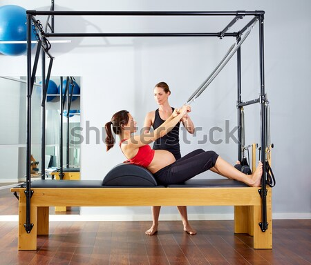 Pilates aerobic instructor woman in cadillac Stock photo © lunamarina