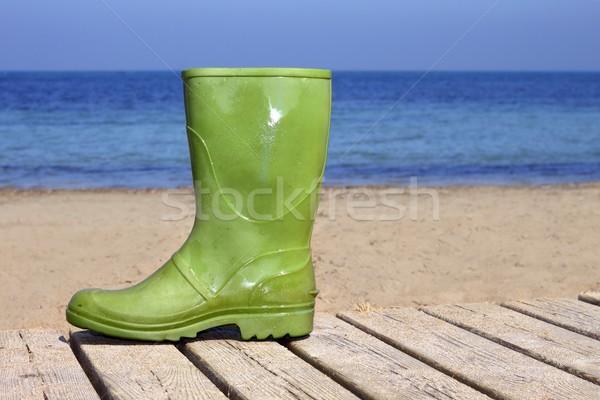 Yeşil çizme plaj şanssız balıkçı mecaz Stok fotoğraf © lunamarina