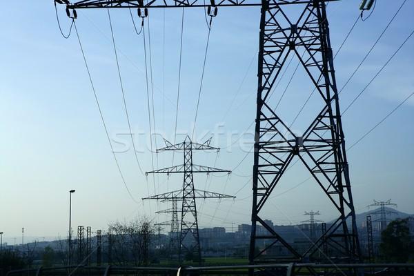 électriques pôle rétroéclairage ciel technologie Photo stock © lunamarina
