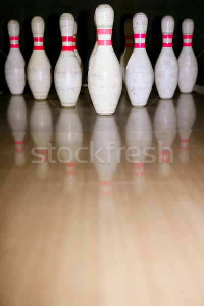 Bowling bolus row reflexion on wooden floor Stock photo © lunamarina