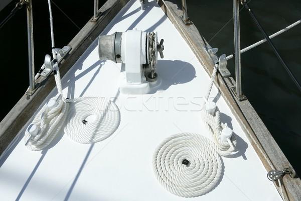 sailboat white bow with bollard and spiral rope Stock photo © lunamarina