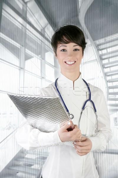 Stock fotó: Modern · jövő · orvos · nő · sztetoszkóp · ezüst