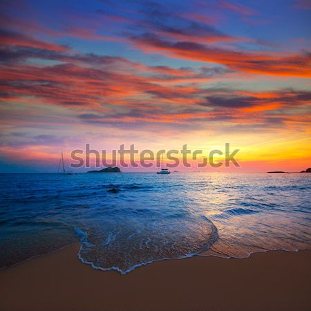 Ibiza sunset from Cala Conta Comte in San Jose Stock photo © lunamarina