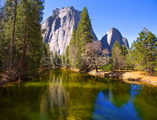 Yosemite Merced River and Half Dome in California Stock photo © lunamarina