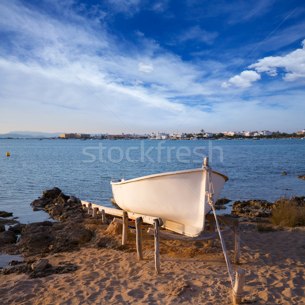 Beached boat in Estany des Peix at Formentera Balearic Island Stock photo © lunamarina