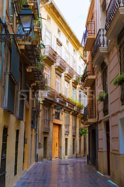 Valencia hagyományos utca Spanyolország épület utazás Stock fotó © lunamarina