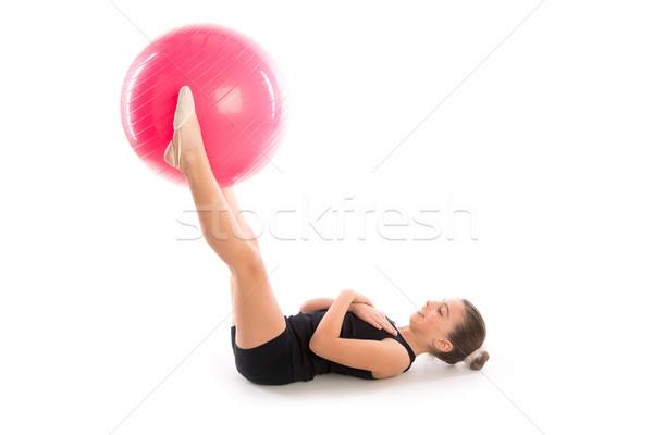 Fitness fitball swiss ball kid girl exercise workout Stock photo © lunamarina