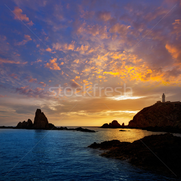 Foto d'archivio: Faro · tramonto · Spagna · mediterraneo · mare · cielo