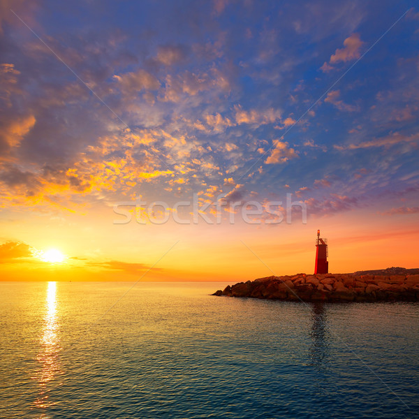 Denia sunset lighthouse at dusk in Alicante Stock photo © lunamarina