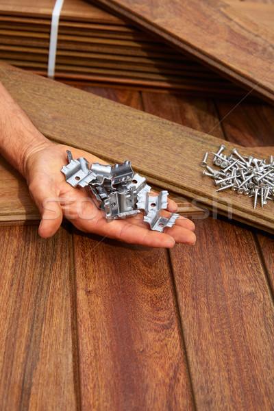 Deck Holz Installation Textur Baum home Stock foto © lunamarina