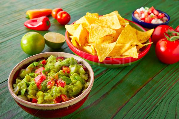 メキシコ料理 ナチョス 唐辛子 レストラン プレート ストックフォト © lunamarina