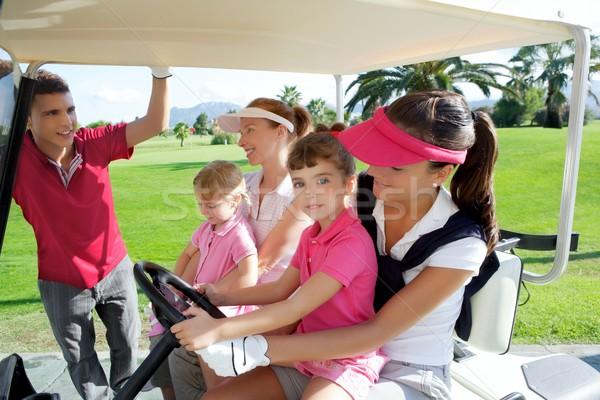 Foto stock: Campo · de · golfe · mães · falante · pai · família · feliz